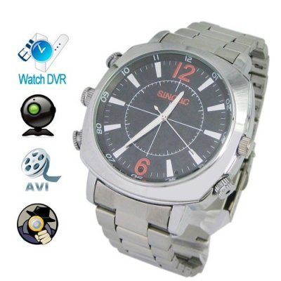 1920 x 1080P 4GB HD Waterproof Spy Camera Watch with Stainless Steel Strap